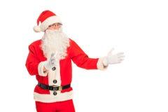 Ritratto di Santa Claus felice con un sacco enorme Immagine Stock Libera da Diritti