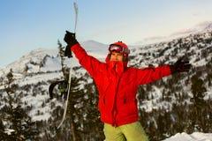 Ritratto di snowborder Fotografia Stock