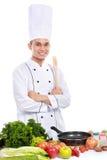 Ritratto di sorridere asiatico del cuoco unico Immagini Stock
