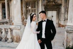 Ritratto di stupore di una coppia di nozze vicino al vecchio castello fotografia stock libera da diritti