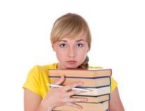 Ritratto di triste una ragazza con i libri Fotografie Stock Libere da Diritti