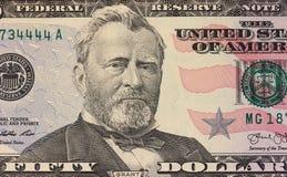 Ritratto di Ulysses Grant su una nota di 50 dollari Immagine Stock