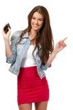 Ritratto di un adolescente felice con il trasduttore auricolare Immagini Stock