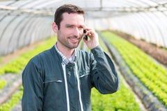 Ritratto di un agricoltore attraente in una serra facendo uso del cellulare Fotografia Stock Libera da Diritti