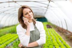 Ritratto di un agricoltore attraente in una serra facendo uso del cellulare Fotografie Stock Libere da Diritti