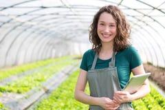 Ritratto di un agricoltore attraente in una serra facendo uso della compressa Fotografie Stock Libere da Diritti