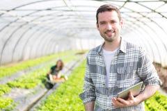 Ritratto di un agricoltore attraente in una serra facendo uso della compressa Immagini Stock Libere da Diritti