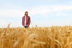 Ritratto di un agricoltore barbuto che sta in un giacimento di grano Uomo dei pantaloni a vita bassa di Stilish con il cappello d Fotografia Stock