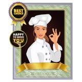 Ritratto di un cuoco unico femminile sorridente Showing Ok Sign Immagini Stock Libere da Diritti