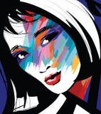 Ritratto di un fronte della donna illustrazione vettoriale