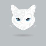 Ritratto di un gatto con una progettazione piana Illustrazione di vettore Illustrazione di Stock