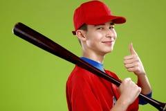 Ritratto di un giocatore di baseball teenager Immagini Stock Libere da Diritti