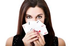 Ritratto di un giocatore di poker immagini stock
