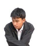 Ritratto di un giovane a deludente su fondo bianco Immagine Stock Libera da Diritti