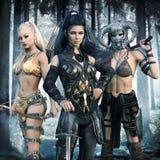 Ritratto di un gruppo di femmine di fantasia che intraprendono un'avventura epica illustrazione vettoriale