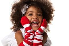 Ritratto di un'indicazione prescolare della ragazza del bambino Colpo dello studio Isolato fotografia stock