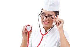 Ritratto di un medico della giovane donna Fotografie Stock