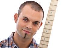 Ritratto di un musicista con la chitarra Immagini Stock Libere da Diritti
