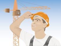 Ritratto di un operaio maschio orientale illustrazione di stock