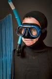 Ritratto di un operatore subacqueo con l'aletta e la mascherina Fotografia Stock Libera da Diritti