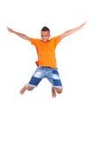 Ritratto di un salto nero adolescente sveglio del ragazzo immagini stock