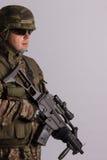 Ritratto di un soldato munito fotografia stock