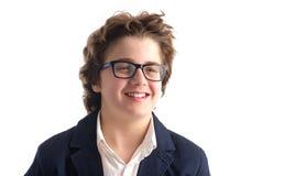 Ritratto di un sorridere del tipo del nerd fotografia stock