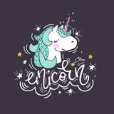 Ritratto di un unicorno illustrazione vettoriale
