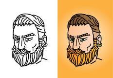 Ritratto di un uomo barbuto con un taglio di capelli alla moda a Fotografia Stock Libera da Diritti