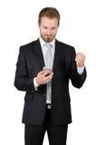 Ritratto di un uomo d'affari felice con un pugno chiuso Immagini Stock
