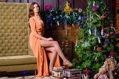 Ritratto di un uomo e di una donna vicino all'albero di Natale Fotografie Stock