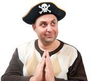 Ritratto di un uomo in un cappello del pirata Immagini Stock
