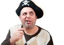 Ritratto di un uomo in un cappello del pirata Fotografie Stock Libere da Diritti
