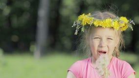 Ritratto di una bambina divertente nel legno Un bambino senza denti anteriori soffia sui denti di leone asciutti e sulle risate,  stock footage