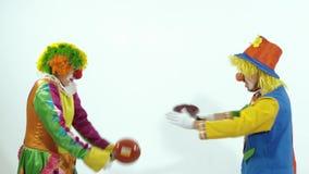 Ritratto di una coppia di pagliacci di circo comici che fingono i combattenti di kung-fu con le padelle video d archivio