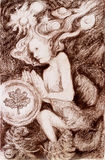 Ritratto di una creatura leggiadramente su fondo ornamentale astratto Immagine Stock Libera da Diritti