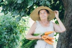 Ritratto di una donna anziana in un cappello che tiene una carota Immagini Stock Libere da Diritti