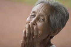 Ritratto di una donna asiatica anziana Immagini Stock Libere da Diritti