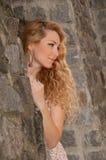 Ritratto di una donna bionda con bei capelli Fotografie Stock Libere da Diritti