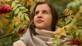Ritratto di una donna caucasica attraente che sorride contro un fondo del fogliame di autunno Immagini Stock Libere da Diritti