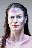 Ritratto di una donna con trucco di Sci fi Fotografie Stock Libere da Diritti