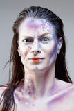 Ritratto di una donna con trucco di Sci fi Fotografia Stock Libera da Diritti