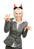 Ritratto di una donna in corni dei diavoli Immagine Stock
