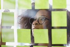 Ritratto di una donna di affari con un afro dietro Fotografie Stock Libere da Diritti