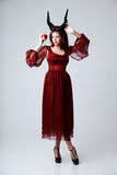 Ritratto di una donna di modo in vestito rosso Fotografia Stock Libera da Diritti