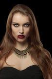 Ritratto di una donna gotica del vampiro Fotografia Stock