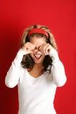 Ritratto di una donna gridante Fotografia Stock
