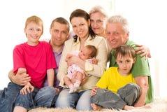 Ritratto di una famiglia di sette felice Fotografia Stock Libera da Diritti