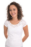 Ritratto di una giovane donna felice e sorridente con le rotazioni naturali Fotografia Stock