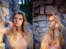 Ritratto di una ragazza bionda della bella sposa in vestito rosa dal pizzo, decorazione dei capelli, fatta a mano Tenerezza Stand immagine stock libera da diritti